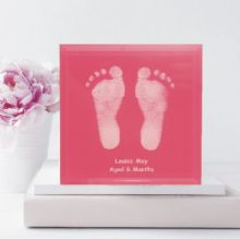 Vibrant Hand and Foot Print Glass Tile with Stand - Baby Footprint Keepsake
